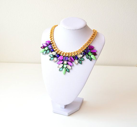 Gold Purple Green Rhinestone Gem Crystal Statement by GemsOver
