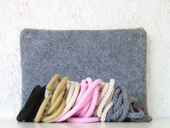 Large Grey Bag Felt bag Tote bag shoulder bag by AlfaHandmade