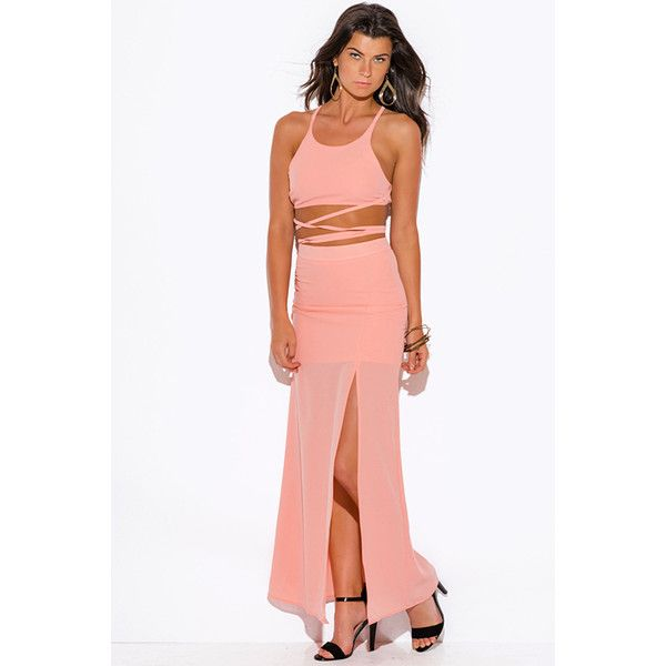 Peach pink high slit crepe evening cocktail party maxi two piece set... ($30) ❤ liked on Polyvore featuring dresses, pink, white maxi dress, white party dresses, two piece cocktail dresses, extra long maxi skirts and high waisted maxi skirt