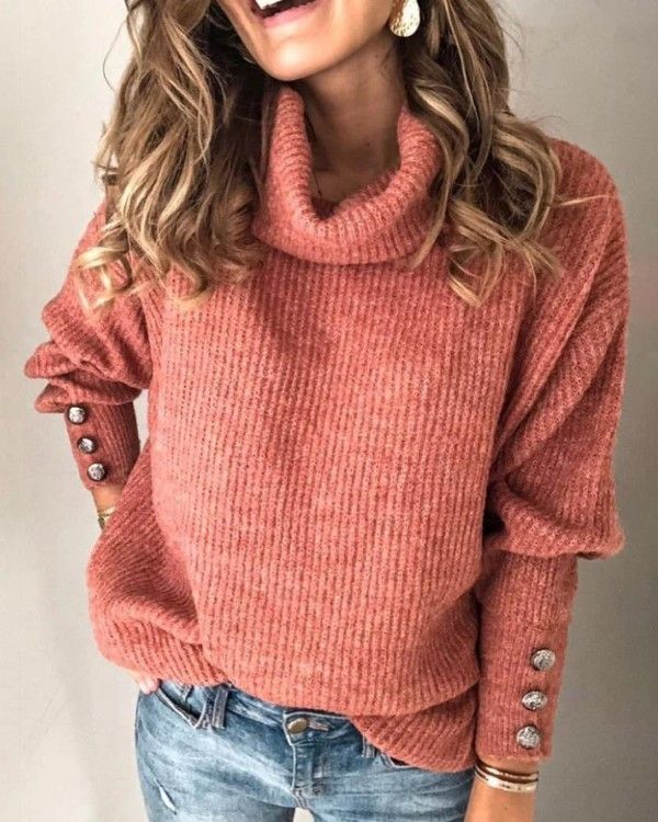 Solid High Neck Popper Cuff Long Sleeve Ribbed Knitting