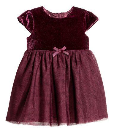 Fluwelen jurk met tulen rok | Bordeauxrood | Kinderen | H&M NL