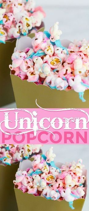 Unicorn Popcorn is a fun party popcorn that comes together in just minutes. Unicorn food is such a trendy thing right now and it is so easy to get in on the craze and be the hero of the party! Perfect for a little girls birthday party too! | Sweet Desserts