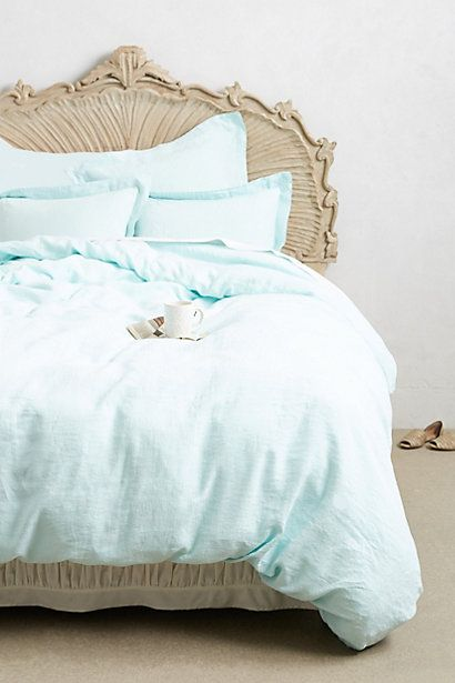$328.00 Color: Sky Soft-Washed Linen Duvet - anthropologie.com
