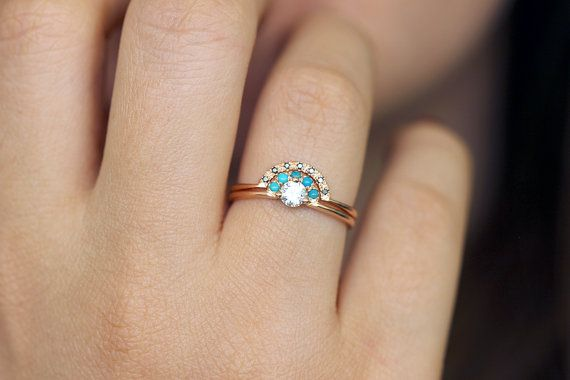 Diamond Ring with Turquoise and Black Diamond Wedding by artemer