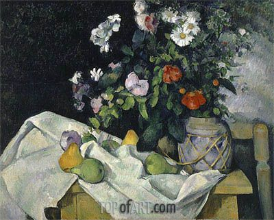 Cezanne | Still Life with Flowers and Fruit, c.1890
