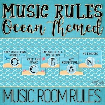 Give your classroom some underwater vibes with this Ocean Music Room Rules Set. Each rule has an ocean theme and is sure to help with your classroom management! Included in this file: *Letters that spell OCEAN RULES / CLASSROOM RULES /