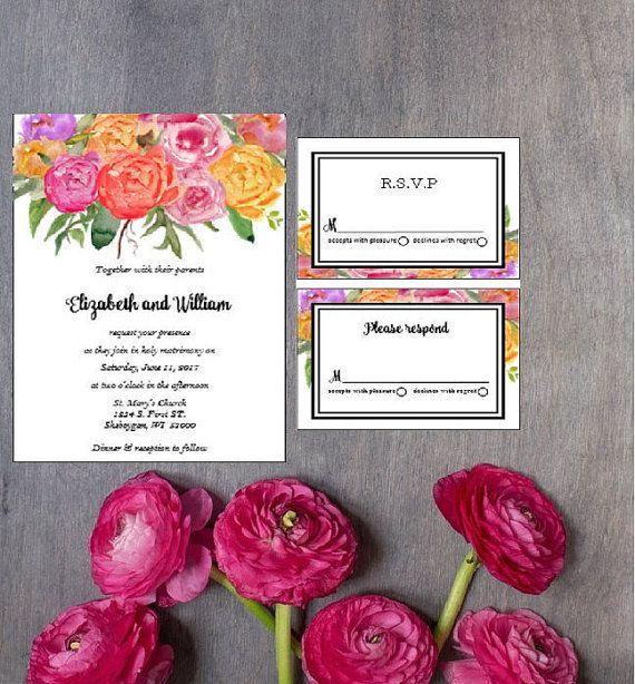 Bright Floral Wedding Invitation Suite Set Hot Pink Orange Fuchsia Purple Roses Peonies