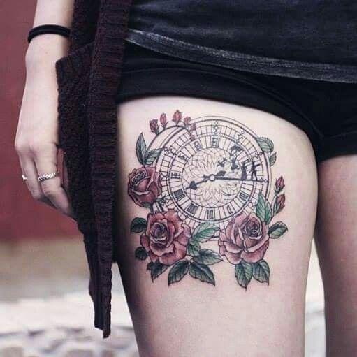 Clock and Roses Tattoo Peter Pan