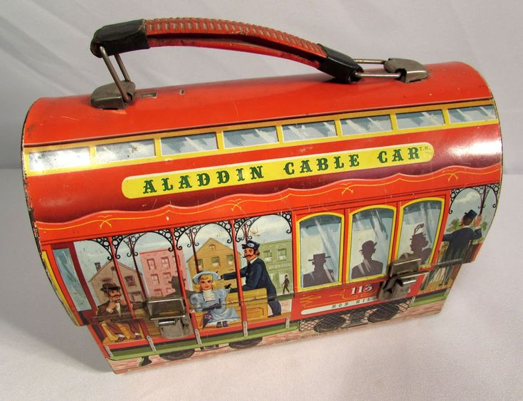 Offered is a vintage 1952 Aladdin Industries metal lunch box  Aladdin Cable Car.  This is #113 Fisherman's Wharf. Measures 9 inches long, 4 1/2 inches