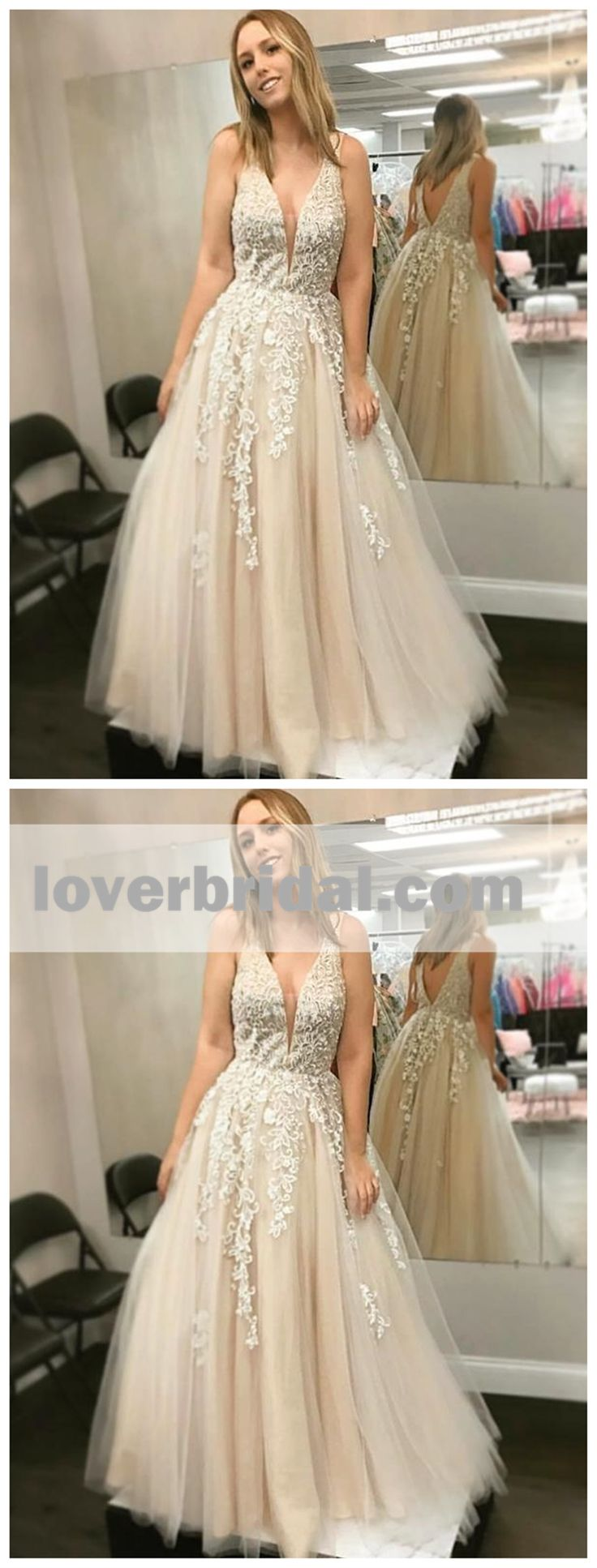 Sexy Backless V Neck Lace A-line Long Evening Prom Dresses, 17567