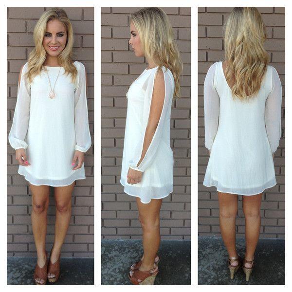 Ivory Long Sleeve Chiffon Dress | Dainty Hooligan Boutique