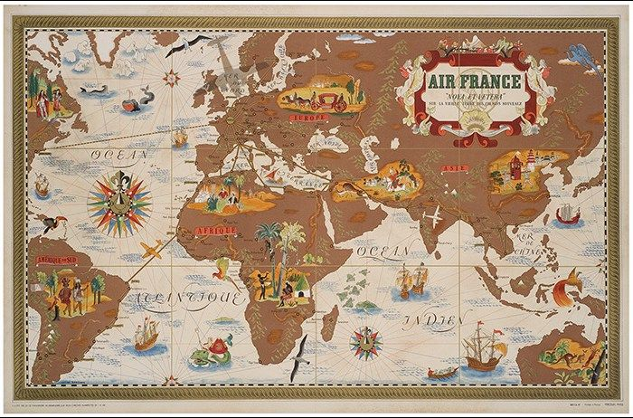 Air France Flight Routes And Illustrated World Map c1950 Random - new air france world map flight routes c.1948