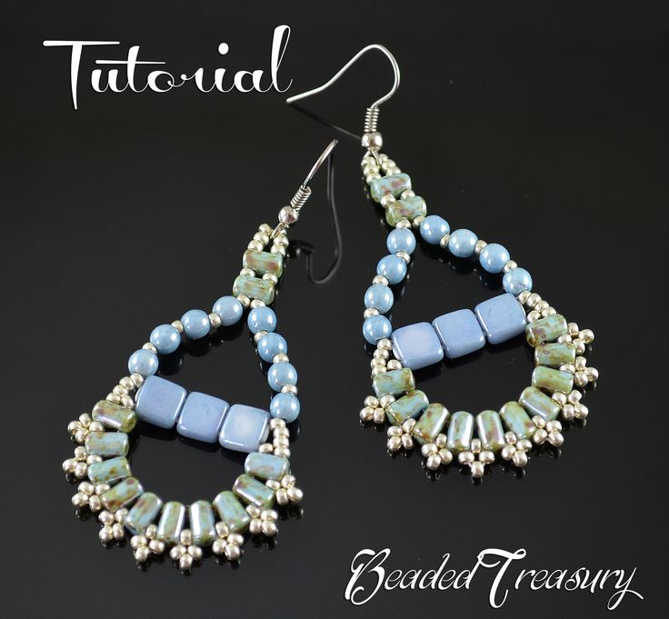 Principessa - beadwoven earrings tutorial. A design with CzechMates tile beads, Rulla beads and seed beads 11/0