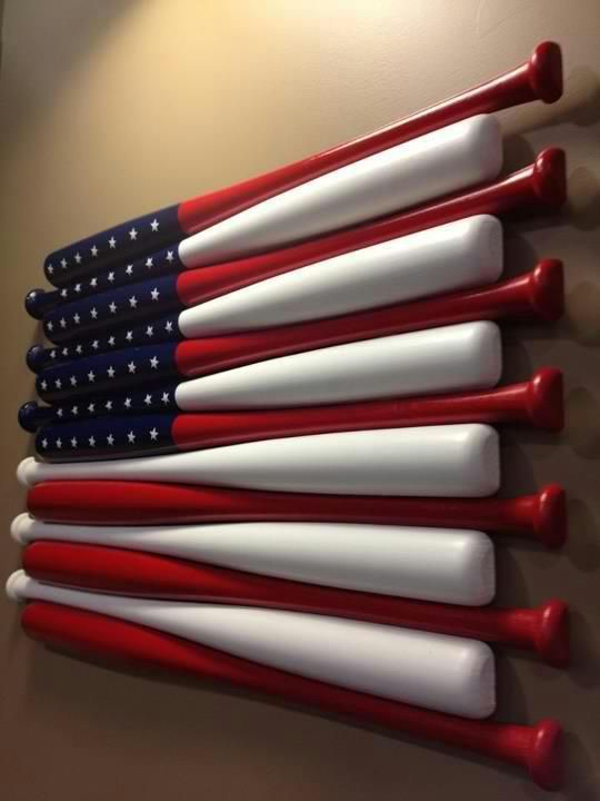 I've also see this at Red Robbin, however they cut the bats short, that are seen here painted blue with white stars, and put painted baseballs with white star patch. CUTE!