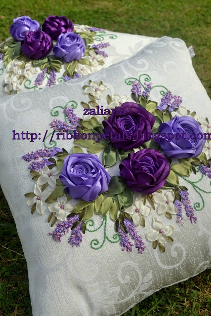 I ❤ ribbonwork . . .  Lavender & Purple Roses~By Zaliana, Ribbon Petals