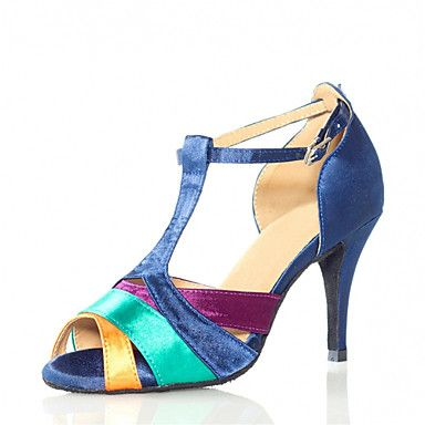 Women's+Dance+Shoes+Latin+Satin+Stiletto+Heel+Blue+–+AUD+$+40.74