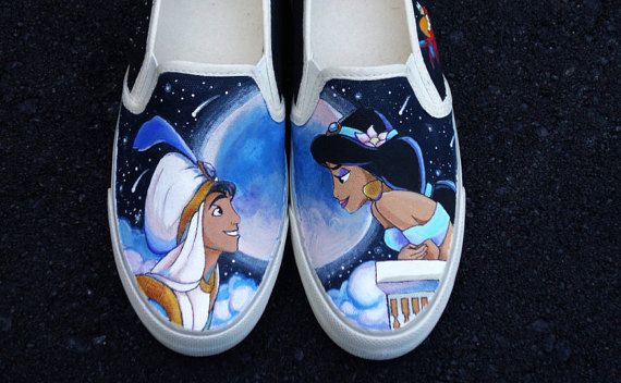 Disney Aladdin Jasmine Custom Painted Shoes for Jasmine