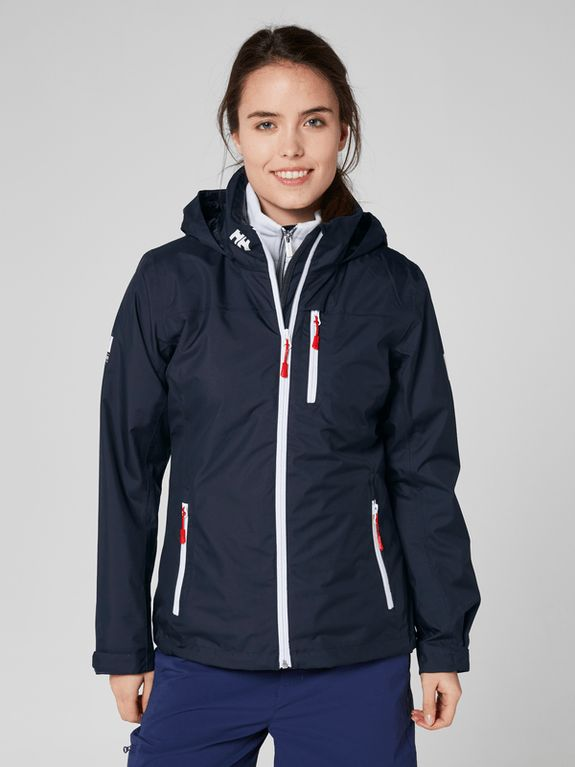 Navy Crew Hooded Jacket by Helly Hansen. A super-versatile jacket for women who want the true marine style, protection and comfort of a sailing jacket with a design that also looks great on land.  Get yours here: https://mallofnorway.com/women/jackets-coats/weatherproof/w-crew-hooded-jacket-navy-l?no_size=1