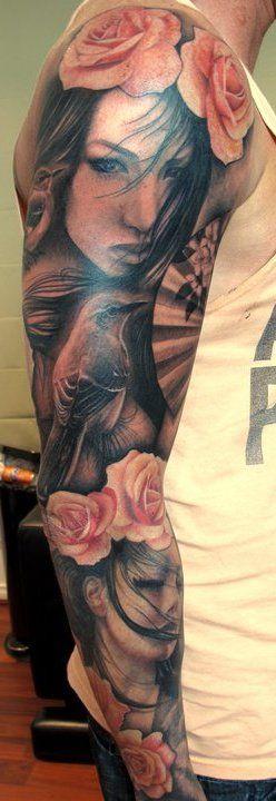 Beautiful portrait sleeve tattoo. I love the color.    #Tattoos  #Tattoo  #Tatts  #Tatt  #Tats  #Tat  #Inked  #Ink  #BodyArt