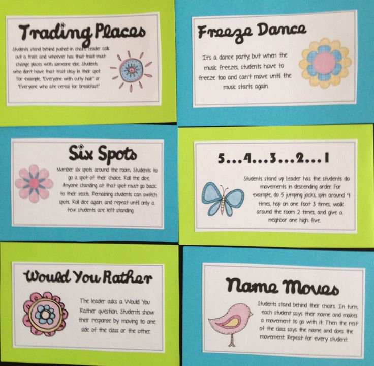 Brain Breaks- Great for a sub folder. I like six spots. You could make the numbers look like dominos too.