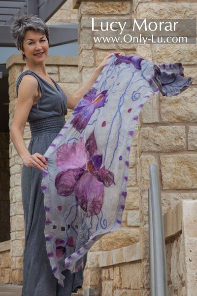 Purple Orchids / Nuno Felt Art Scarf