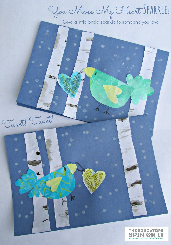 Valentine's Day Card for Kids: Winter Birds with Hearts and Glitter