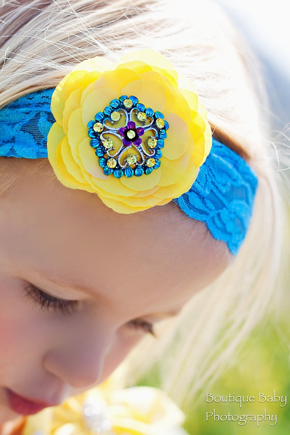 Brand New...Turquoise Crystal Yellow Flower bow headband by Snuggle Bug Kidz