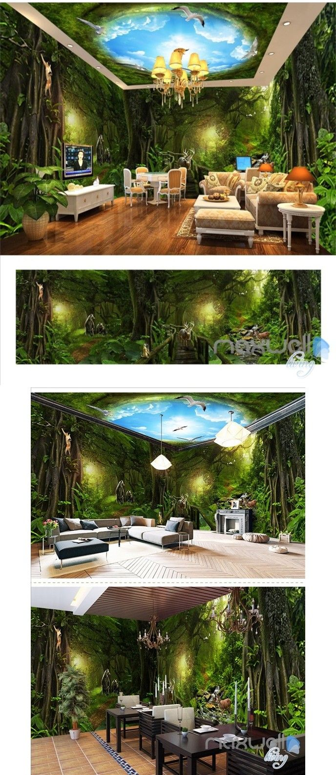 Deep Forest Forest Theme Space Entire Room Wallpaper Wall Mural Decal  IDCQW 000018 Part 58