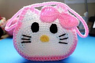 "Crochet ""Hello Kitty"" Inspired Little Girls Purse"