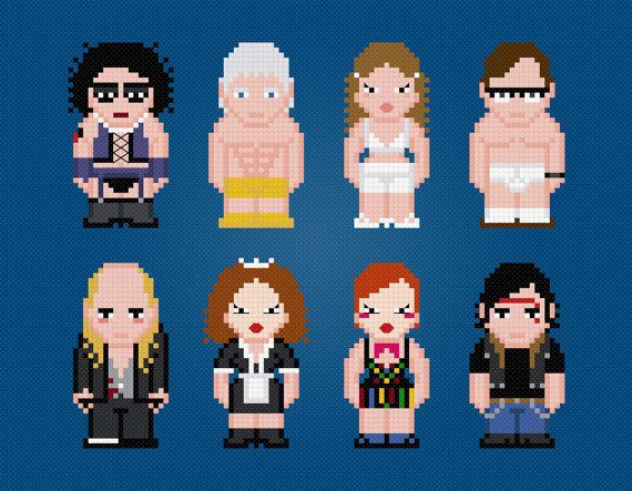 The Rocky Horror Picture Show - Movie Characters - Digital PDF Cross Stitch Pattern    This is a digital PDF file of a cross stitch pattern.