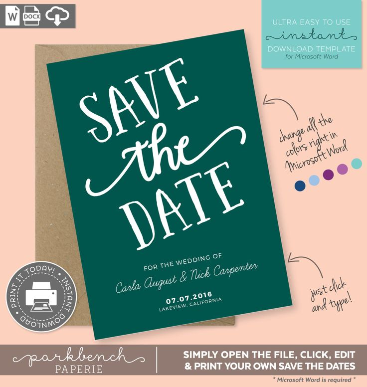 Save The Date Printable Template for Microsoft Word  - Carla Style Green Emerald - DIY - Editable text and Colors!