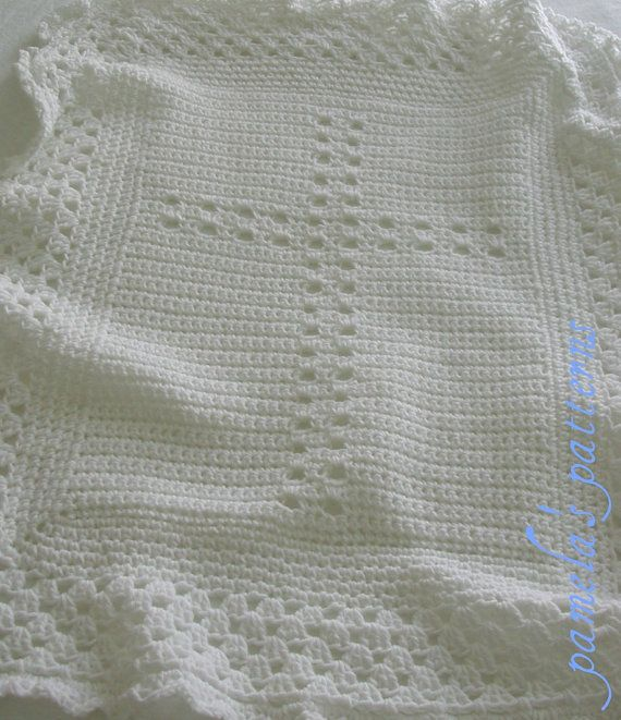 Crochet Cross White or with Blue Border by pamelaspatterns on Etsy