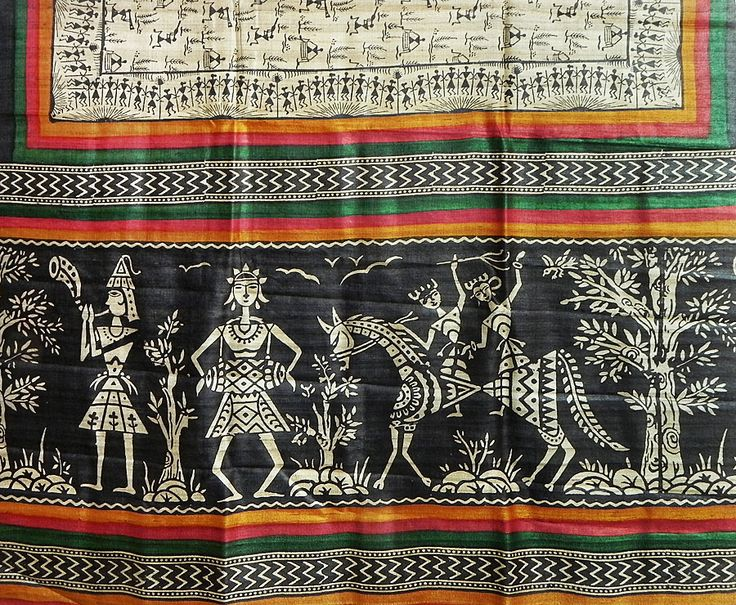 Light Beige Tussar Silk Saree with Black Warli Print All-Over ...