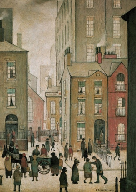 """L.S. Lowry """"Hawkers Cart"""" ....I adore his pictures they are just beautiful works of Art...we have lots of large prints Love them"""