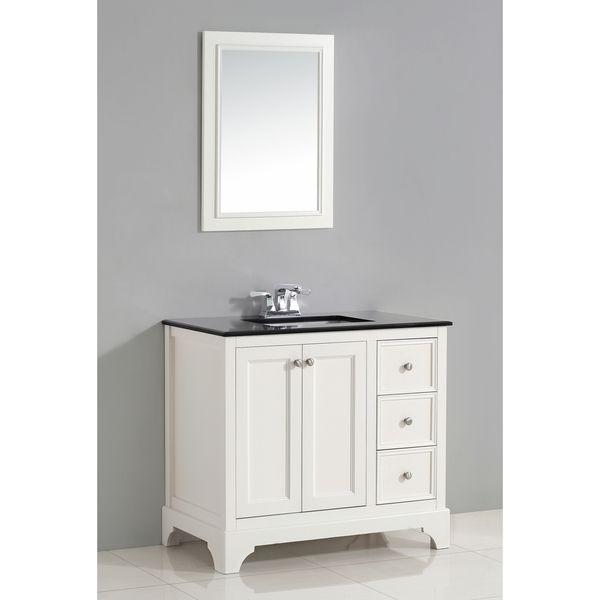 WYNDENHALL Carlyle 36-inch White Bath Vanity with Black Granite Top
