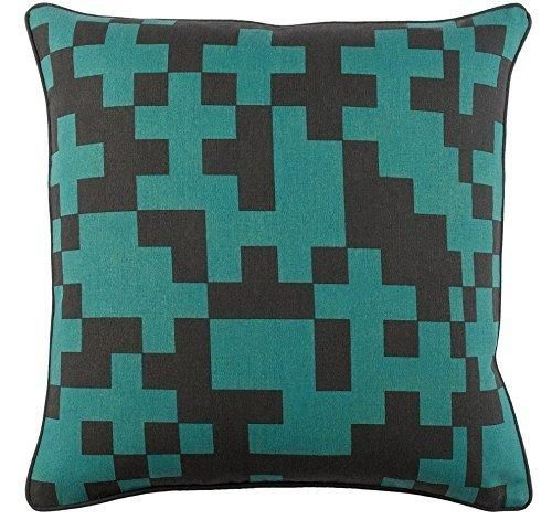 Blue 18x18 Geometric Throw Pillow Black Square Color Block Chevron Pattern Modern Patterned Theme Cushion Abstract Graphic Novelty Sleek Trendy