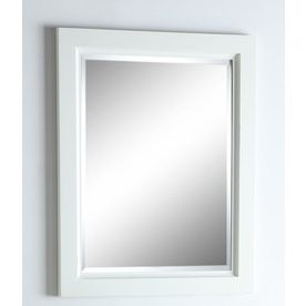 allen   roth 30-in H x 24-in W Norbury White Finish with Weathered Edges Rectangular Bathroom Mirror