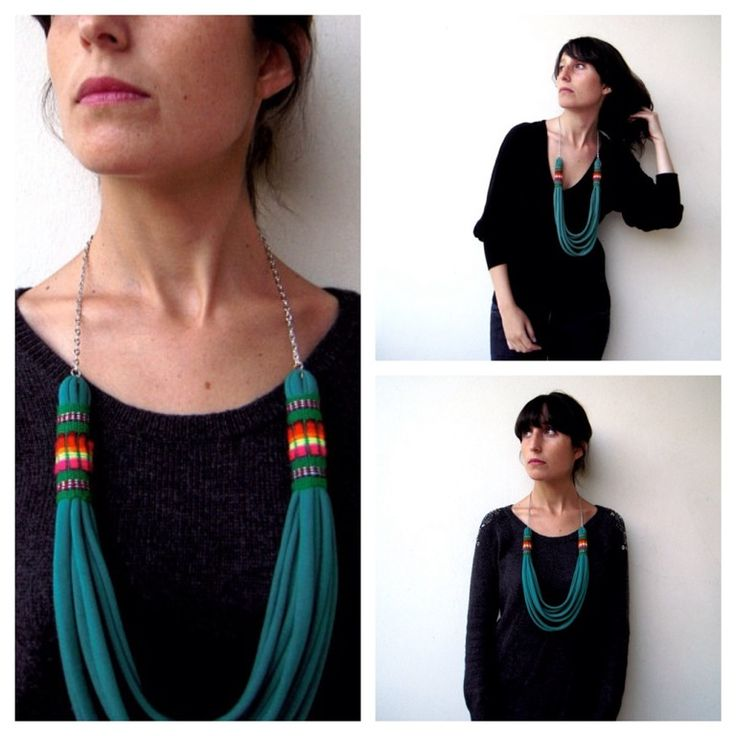 This is a necklace that gives life to your outfits, the strip of peruvian handmade fabric produces a tribal effect.