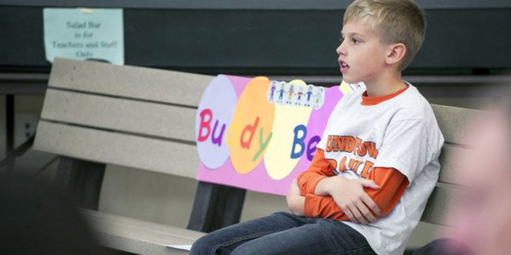 a Buddy Bench is a designated seating area where students feeling lonely or upset can seek camaraderie