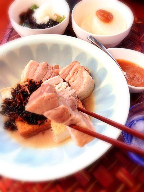 優しいお味でほっこり煮物Dinner♨ 早く暖かくならないかな - 69件のもぐもぐ - Tonight Dinner揚げ浸し・ふろふき大根・厚揚げと豚肉とひじきの煮物 by Ami