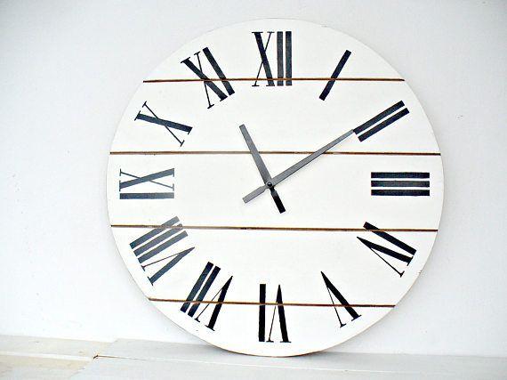 Large wall clock 20 inch wall clock Wall decor Rustic kitchen