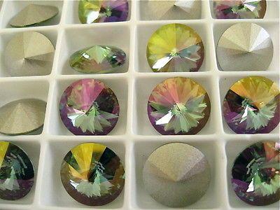 6 Crystal Celadon Foiled Swarovski Beads Rivoli Stone 1122 12mm