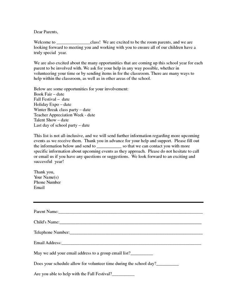 Download Parenting Classes   Room mom letter, Letter to parents ...