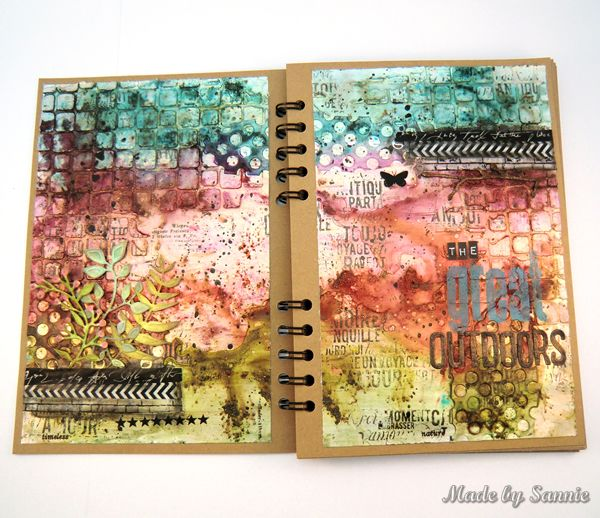 Made by Sannie: Paper Artsy The Great Outdoors art journal spread with video tutorial