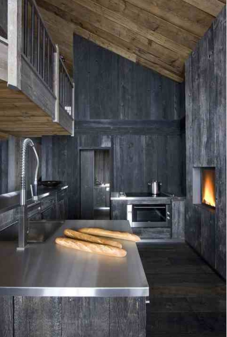 Grey stained timber modern rustic chalet kitchen cabin cottage camp pinterest in kitchen - Chalet modern design ...
