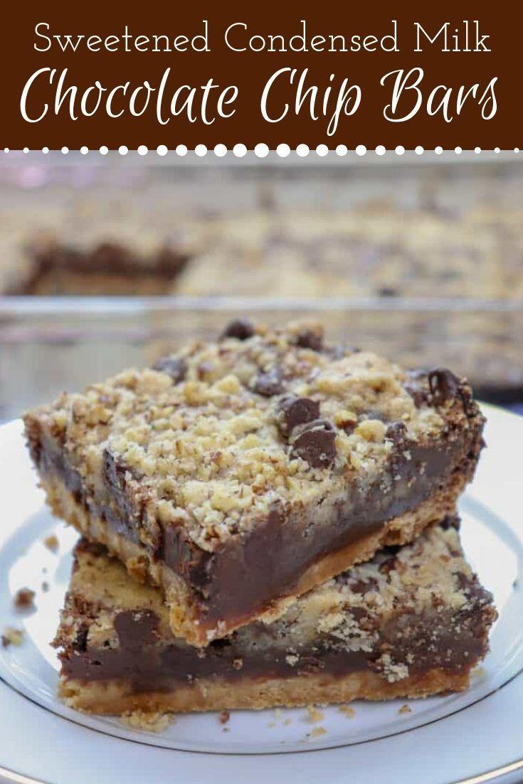 Sweetened Condensed Milk Chocolate Chip Bars In 2020 Sweetened Condensed Milk Recipes Dessert Bar Recipe Chocolate Chip Bars