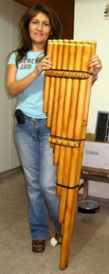 "Product Information   Toyo Bass Flute, professional Instrument from Peru    Professional Bass Pan flute "" Toyo"" from Peru.    Made of Bamboo."