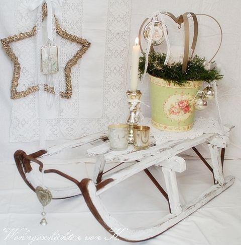 vintage weihnachtsdeko schlitten shabbychic http. Black Bedroom Furniture Sets. Home Design Ideas
