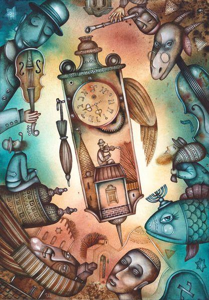 Clock by Eugene Ivanov, watercolor on paper, 29 X 41 cm. #eugeneivanov #@eugene_1_ivanov #modern #original #oil #watercolor #painting #sale #art_for_sale #original_art_for_sale #modern_art_for_sale #canvas_art_for_sale #art_for_sale_artworks #art_for_sale_water_colors #art_for_sale_artist #art_for_sale_eugene_ivanov #jew #jewish #judaic
