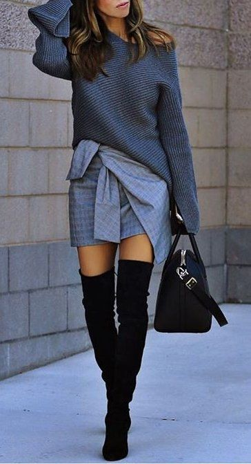 #fall #fashion ·  Grey Sweater & Skirt + Black Knee Length Boots